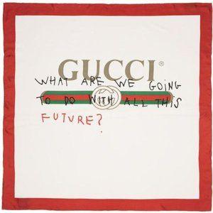 Gucci White and Red Silk Future Logo Scarf